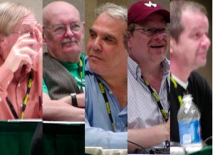 (Left to Right:) Roy Thomas, Denny O'Neil, Jim Valentino, Mark Waid, Darwyn Cooke!